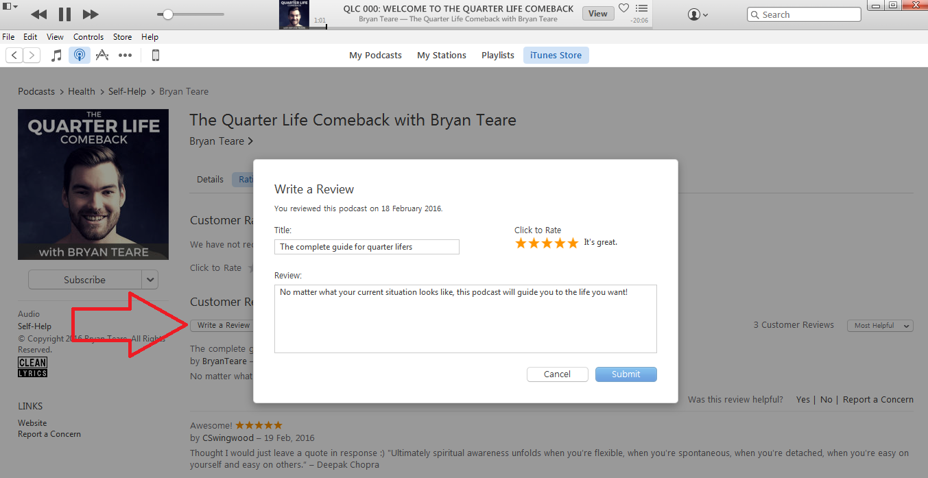 How to subscribe to The Quarter Life Comeback on iTunes